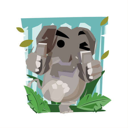 elephant showing thumbs up - vector illustration