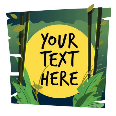 jungle background with fullmoon template for replace your text - vector illustration