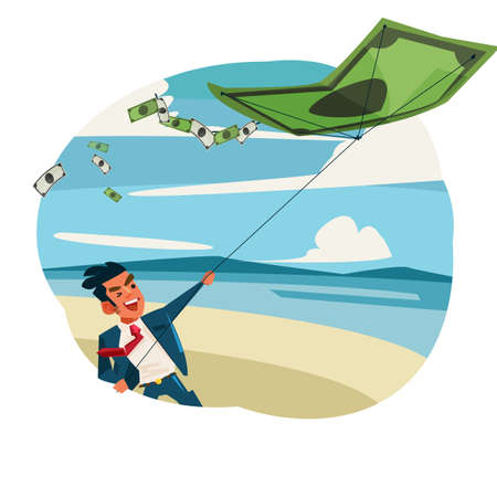 businessman  fly a kite of banknote. money control concept - vector illustration