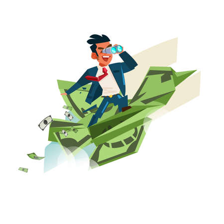 Origami Bird from banknotes with businessman holding binocular - vector illustration 일러스트