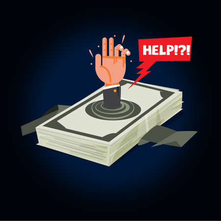 businessman drowning into debt money. money stack with hand of businessman screaming for help. money crisis concept - vector illustration