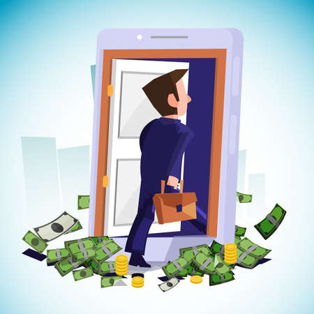 businessman walking into the door. way to successful in business. start-up concept - vector illustration