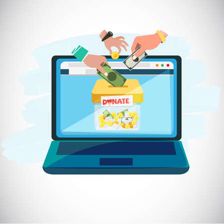 Online donate concept. people hands giving coins and money in to donation box inside tablet computer - vector illustration
