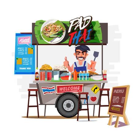 Pad Thai carro con comerciante. Concepto de calle de comida de Tailandia - ilustración vectorial Ilustración de vector