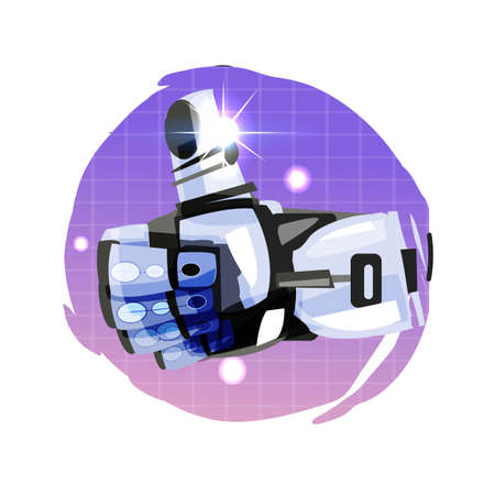 Robot hand thumbs up - vector illustration