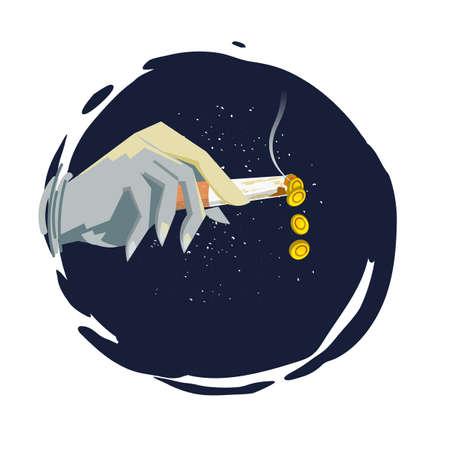 Sigaretta accesa con soldi. mano umana che tiene la sigaretta con monete di denaro come cenere. idea creativa - illustrazione vettoriale