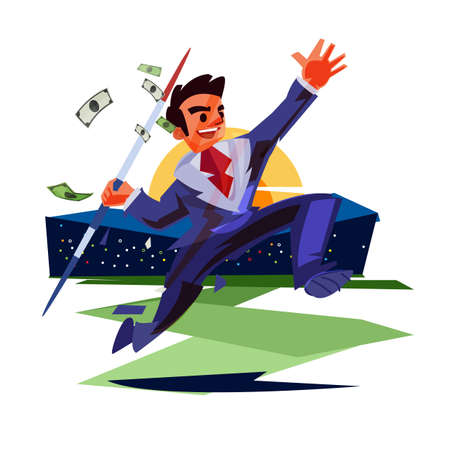 Businessman throwing a spear of money in a field of stadium. business, finance, successful business - vector illustration