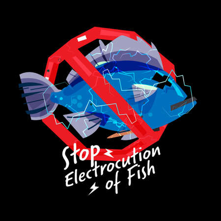 Electric shock on fish in stop sign. Stop electrocution of fish sign - vector illustration