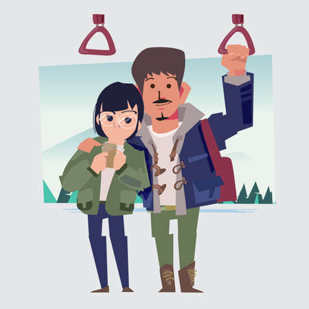 Man and woman couple traveling by bus or subway. happy couple standing in subway. - vector illustration