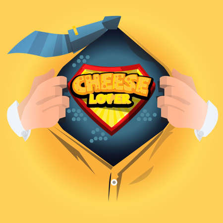 man open shirt to show  Cheese logotype. cheese lover or master concept - vector illustration Illustration