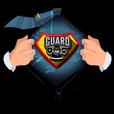 man open shirt to show Guard or body guard logotype in comic style - vector illustration