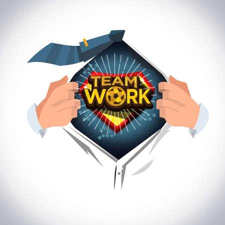 """Mann offenes Hemd, um das Symbol """"Teamarbeit"""" oder typografisches Design im Cartoon-Stil zu zeigen - Vektorgrafik"""