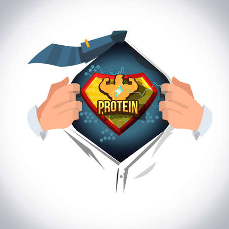 man open shirt to show protein logotype in comic style. strong by protein concept - vector illustration