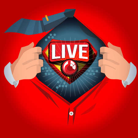 man open shirt to show Live Broadcasting or Live straming logotype in comic style - vector illustration