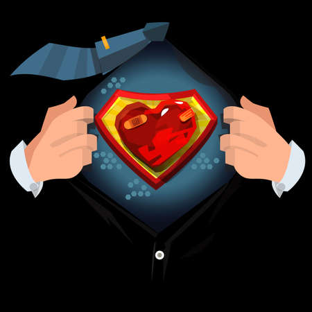 "man open shirt to show ""Painful or hurt heart"" in cartoon style. Broken heart concept - vector illustration"