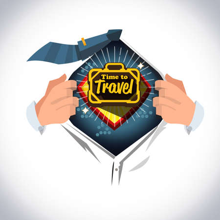 "Man open shirt to show icon of travel bag and text ""Time to travel "" vacation concept - vector illustration"