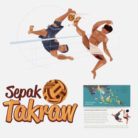 Peple playing Sepak takraw. Sepak takraw player in action. bicycle kick. Sepak Takraw ball. typographic - vector illustration 일러스트