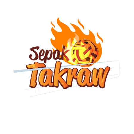 Sepak Takraw logo design with fire of power ball. logotype, typographic - vector illustration
