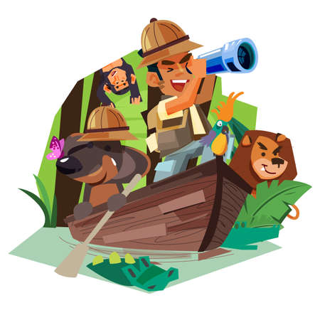 Explorer man with his dog rowing on the wooden boat in rain forest river to explorer for animal and nature - vector illustration