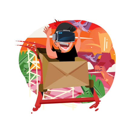 Boy sit in a box and Enjoying Vr Roller Coaster game. Age of Dinosaurs in background - vector illustration
