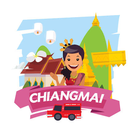 Chiangmai landmark label. famous city og Thailand - vector illustration