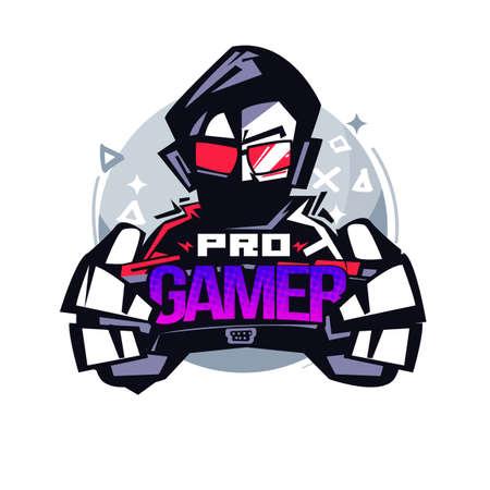 Professioneller Gamer. Gamer-Logo - Vektor-Illustration