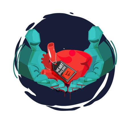 Arzthand mit menschlichem Herzen und Preisschild. Herzhandel. Organhandel. Organhandel - Vektorillustration