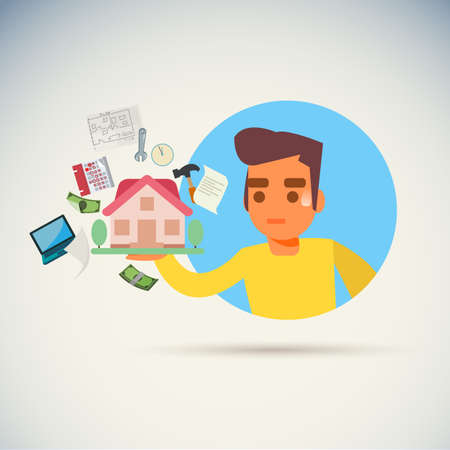 worry man with ploblem about build a home icon. top reason from build home make you pain concept - vector illustration