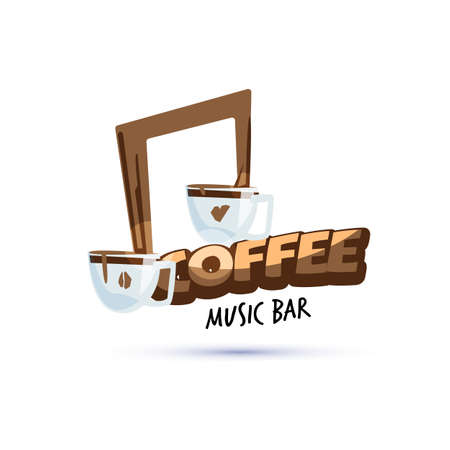 coffee cup as music symbol. coffee music bar concept - vector illustration 일러스트
