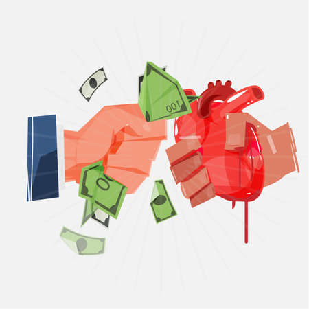 organ trade. exchanging human heart or organ to money - vector illustration Çizim
