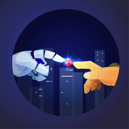 Robot and human hand touching and happening to the heart, Birth of Artificial Intelligence, love between robot and human - vector illustration Illustration