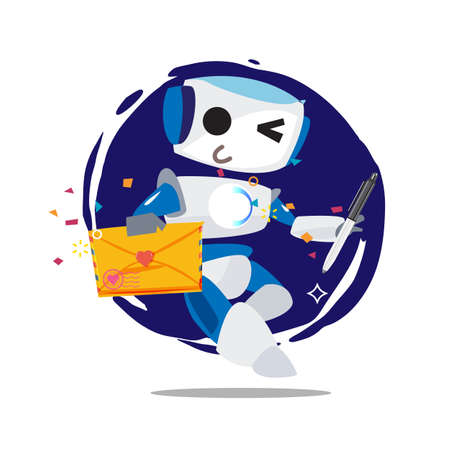 Robot holding love letter and pen. ropot with love - vector illustration Ilustracja