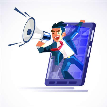 uomo d'affari in grande smartphone che grida con il megafono. annuncio o presentazione di affari online - illustrazione vettoriale Vettoriali