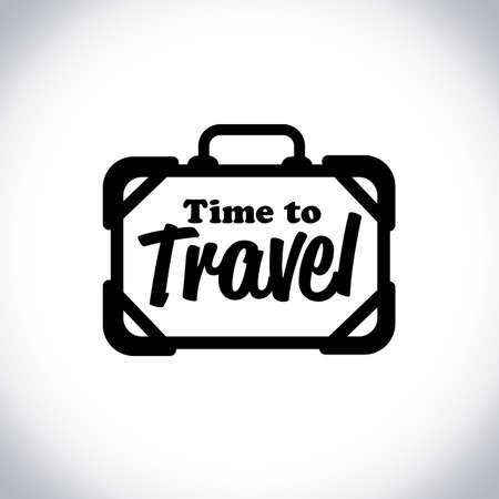 """logotipo de la bolsa de viaje con el texto """"tiempo para viajar"""" - ilustración vectorial"""
