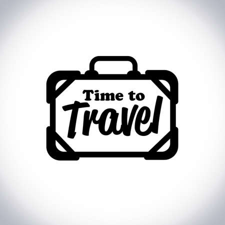 "travel bag logo with text"" time to travel"" - vector illustration"