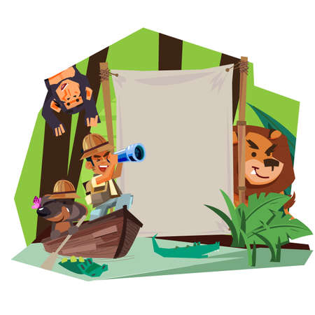 adventure sign concept. Explorer man with his dog rowing on the wooden boat in rain forest river to explorer with blank sign - vector illustration