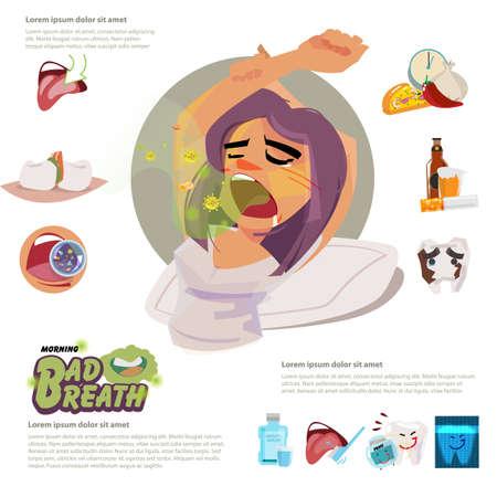 Mädchen wacht auf und steth sich morgens mit Mundgeruch. Infografik-Elemente mit typografischer - Vektor-Illustration Vektorgrafik