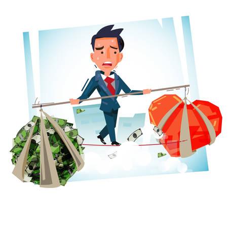 """Equilibrar al hombre con dinero y corazón. tiempo para elegir """"Dinero"""" o """"Haz lo que amas"""" - ilustración vectorial"""