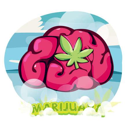 Cerveau avec feuille de marijuana. effet de la marijuana élevé. guérison par le cannabis - illustration vectorielle