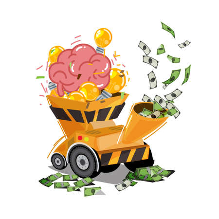 Human brain with light bulb of idea in chipper machine and output to money - vector illustration