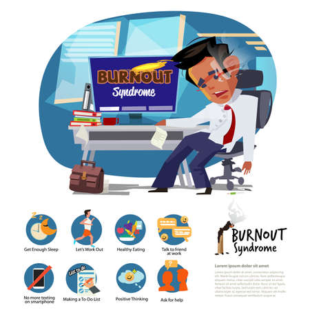 Burnout Syndeome man at work. how to fight burningout syndrome. infographic elements  - vector illustration Illustration