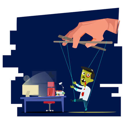 People manipulating, people playing puppet businessman to going to working late night. hard working and die concept - vector illustration