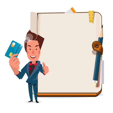 businessman holding creditcard with blank book in background. showing the right way to use creditcard - vector illustration