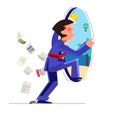 busy businessman jumping from office to beach - vector illustration