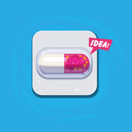capsule pill of idea. brain and lightbulb of idea in capsule. idea boost up or healing for alzhemer concept - vector illustration Illustration