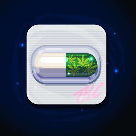 marijuana pill. THC pill. pain or cancer relief concept - vector illustration