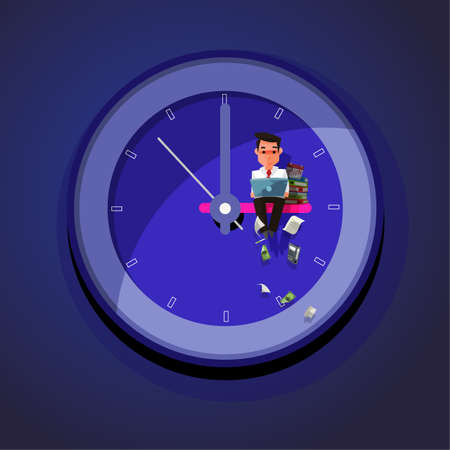 Working Late. businessman working hard till late night on wall clock - vector illustration