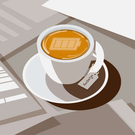 coffee with full battery as latte art on  top, recharge or refresh coffee concept - vector illustration Çizim