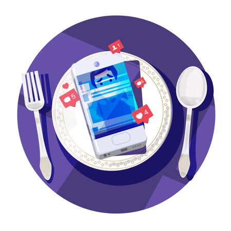 smartphone on plate with human inside, Social Networking Addiction too much concept - vector illustration