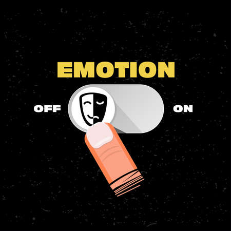 emotion button on and off. emotion management concept - vector illustration